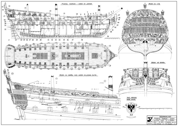 Чертёж общего вида корабля Ингерманланд