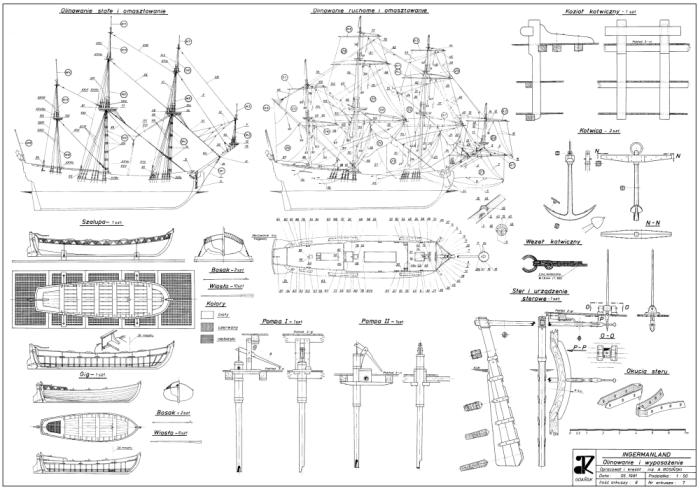 Схемы и планы укладки такелажа, битенги, шлюпки, якорь, помпы, руль корабля Ингерманланд