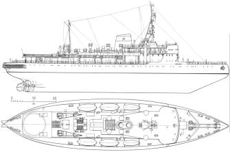 Чертёж модели ледокола Красин. Общий вид