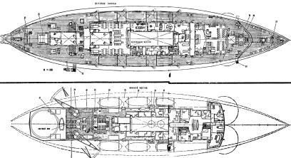 Чертёж модели ледокола Красин3. План помещений