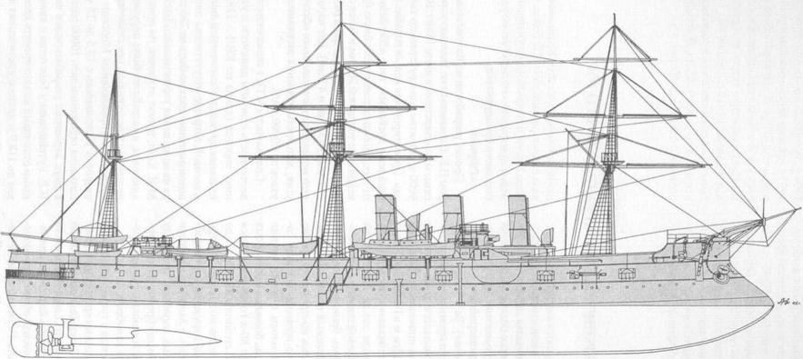 Чертёж модели корабля Память Азова. Общий вид.