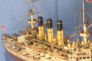 Модель корабля броненосец Ретвизан. Спардек  сзади.