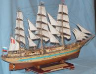 Модель судна  `Мир`. Вид справа сзади.