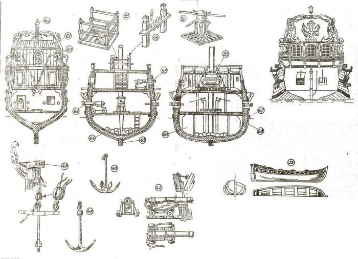 План палубы и разрез корпуса корабля Орёл